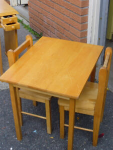 Kids solid hardwood table and chair set