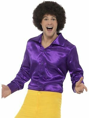 Mens Purple Leisure Shirt 70s Costume Disco Hippie Adult Hippy Wide Lapel - Hippie Costumes For Mens