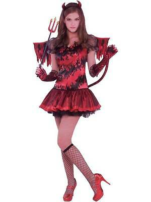 Childs Teens Girls Red Hot Stuff Devil Dress Halloween Fancy Dress Party Costume](Party Stuff Halloween)