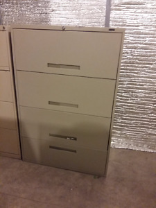 4 Drawer Global lateral filing cabinet, Key included