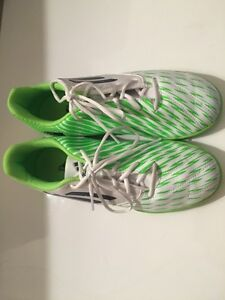 White and Green adidas indoor soccer cleats