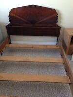 Antique double wood bed frame