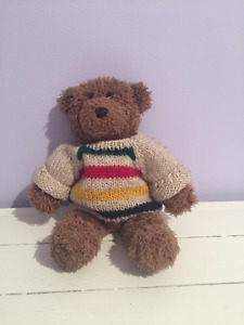 Teddy Bear Wearing Hudson's Bay Company Sweater
