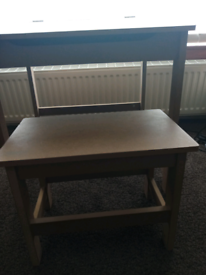 Child's wooden school desk and stool