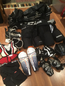 Hockey equipment, junior size med to large.
