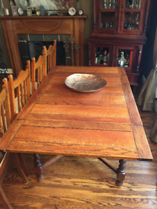 Antique oak wood dining room table with Chairs