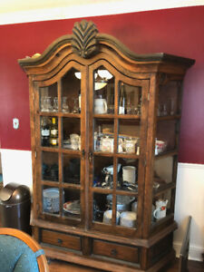 Large China Cabinet Solid Wood