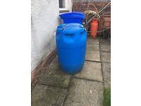Blue plastic drum