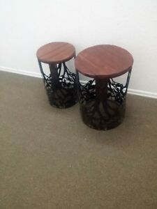 SET OF PINE AND COPPER PLANT STANDS STAINED AND VARNISHED SO GO