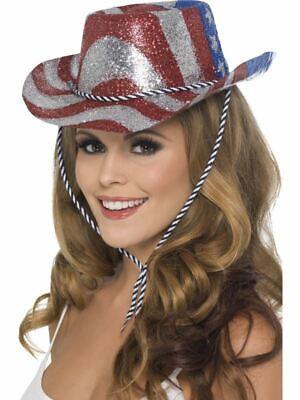 Damen Amerikanische Flagge Cowboy Glitzer Hut USA Hen - Usa Flagge Kostüme