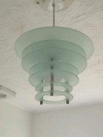 pale green tiered glass chrome easy fit pendant light shade