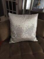 Beautiful silver sequin pillow
