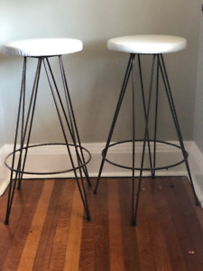 White Retro Bar Stools (Pair)