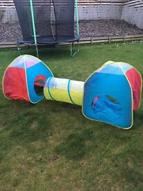 Kids play tents and tunnel folds up for storage
