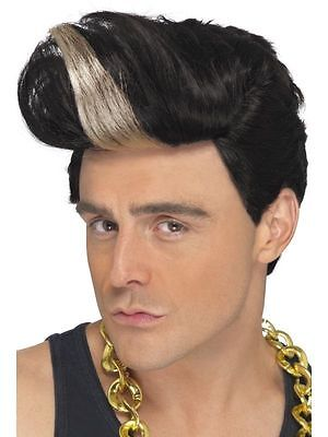 Men's 1990's Fancy Dress Vanilla Ice Black Quiff Rapper Wig Music Stag Theme Fun](Vanilla Ice Wig)