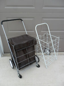 Large Covered Shopping Cart / Small white wheeled cart