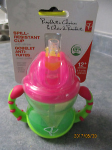 PC SPILL-RESISTANT CUP WITH STRAW-BRAND NEW