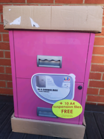 Filing Cabinet Pink Brand New and Sealed with lock, 2 keys and files ☆