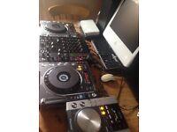 2x pioneer 800 mk2 cdj's, 1x behringer DJX750 mixer, 1x pioneer 200 cdj and a apple iMac