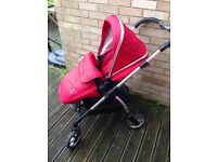 Silver Cross Wayfarer Pram, Carry Cot and Car Seat Chilli Red