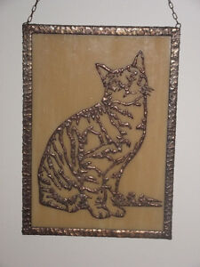 Handcrafted Copper Cat on Glass Wall Hanging Kingston Kingston Area image 2