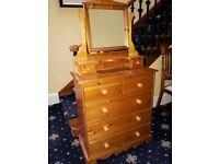 Solid Pine 5 Drawer Chest and Mirror