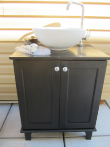 New vessel sink, New Bathroom Tap & drain, used vanity cabinet