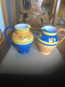 French Provincial Jugs (2)& 4 Ironstone Cafe o'lait Cup & Saucer