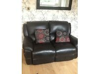 Leather two seat recliner sofa