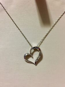 Three Stone Diamond Heart Necklace