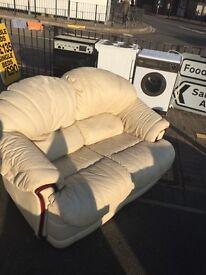 Cream leather 2 seater sofa