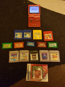 Gameboy advance sp and 15 games including 9 Pokemon