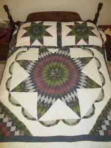 "DOUBLE SIZE QUILT (80"" X 80"") WITH TWO MATCHING PILLOW SHAMS"