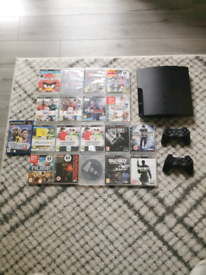 Ps3 and 18 games plus all wires and 2 controllers to swap
