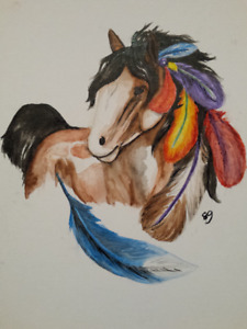 original water color horse painting