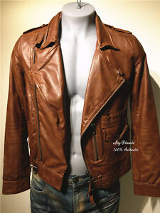 JAPANESE BLACK BARRETT MEN BIKER LEATHER JACKET