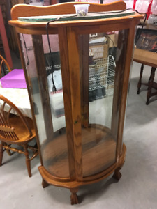 Solid Oak Curved Glass Display Case