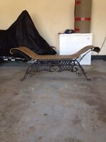 Wicker and iron bench
