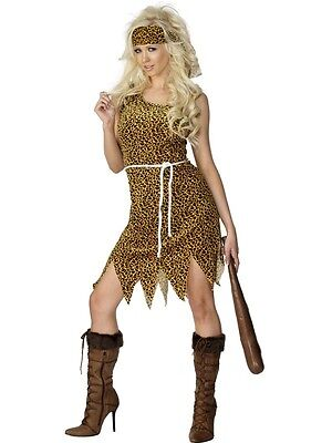 Cavewoman Costume Womens Cave Woman Fancy Dress Tunic Leopard Cheetah Adults NEW - Cave Women