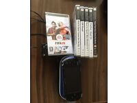 Sony psp slim with 6 games charger and case