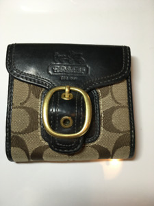 """4"""" x 4.2"""" Coach Signature Canvas and Leather Wallet"""