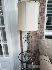 Ornate Brass/solid table lamp with Crystal drops