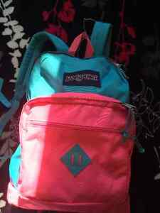 Bright Pink and Blue Jansport Backpack