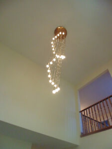 Large brass plated chandelier