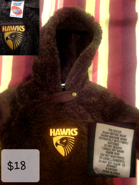 9229032cd601 Hawthorn HAWKS kid  39 s AFL coverall  47  onesie