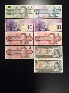 Old Canada Banknotes / Paper Money, $95- obo / ALL UNCIRCULATED