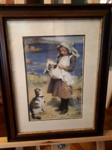 Charming vintage print of young girl with cat and kittens