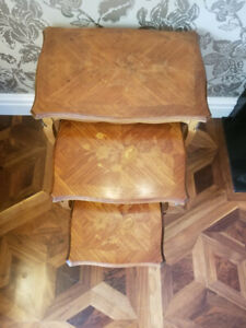 Set of 3 Antique French Nesting Tables. Early 20th Century