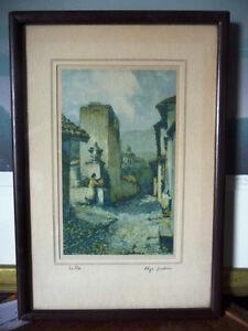 "Street Scene Lithograph by Rhys Jenkins ""La Pila"" 1920's Signed"