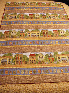 Lap Quilt - cobblestone streets & Antique shops